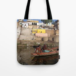 Two Men in a Boat by Nishradraj Ghat Tote Bag