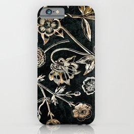 Golden set of birds, beetle, flowers and cherry fruit. iPhone Case