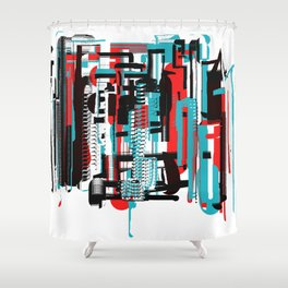 Bright Orange-Red, Black and Aqua Abstract City Shower Curtain