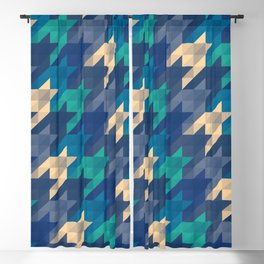 Origami houndstooth blues Blackout Curtain