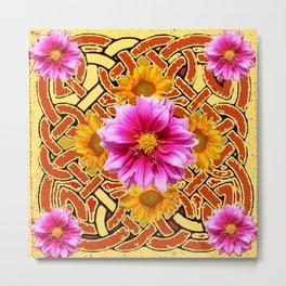 Celtic Design Yellow Art Purple Dahlias Design Pattern Metal Print