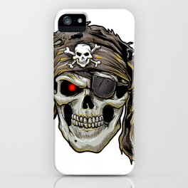 pirate skull with black bandana iPhone Case
