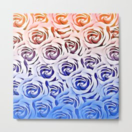 rose pattern texture abstract background in pink and blue Metal Print