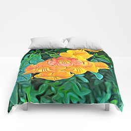 Orange Flowers of Flowing Circuitry Comforters