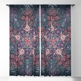 Baroque Garden, Ornate Watercolor Pattern Blackout Curtain