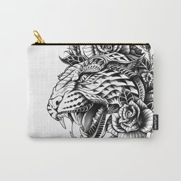 Ornate Leopard Black & White Variant Carry-All Pouch
