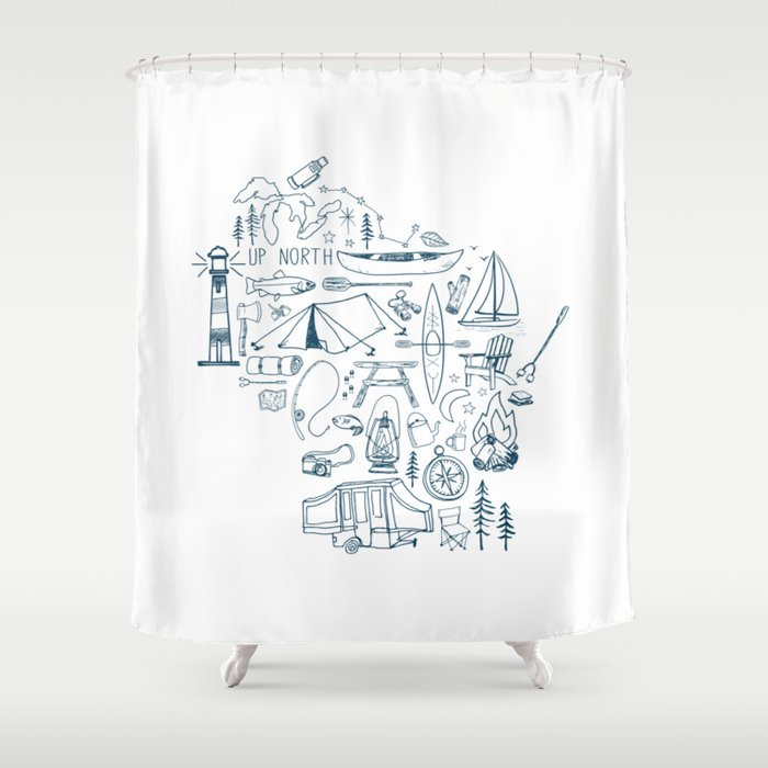 Wisconsin Up North Collage Shower Curtain By Greatlakeslocals