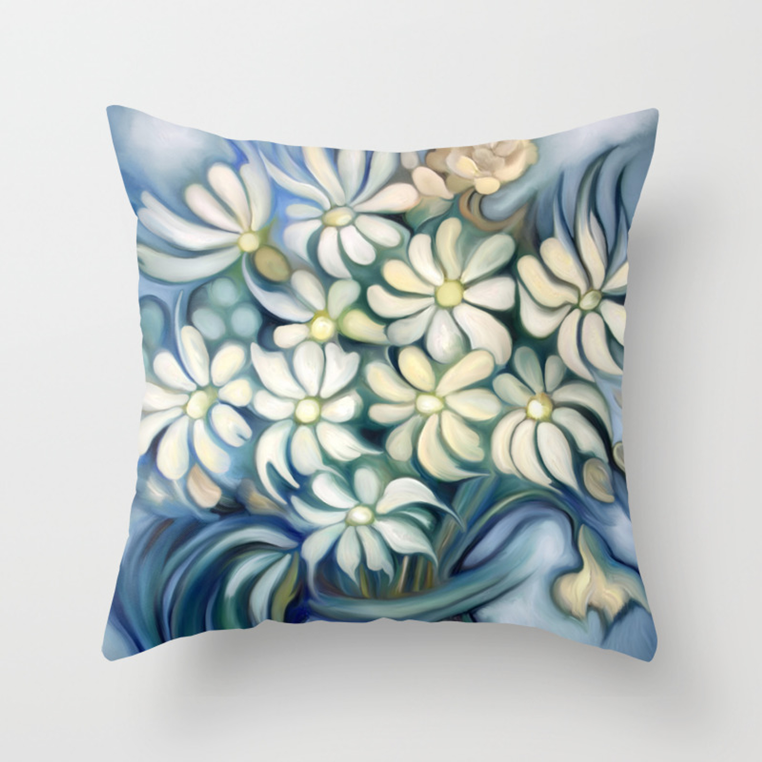 Retro Vintage Bouquet Of White And Blue Flowers Throw Pillow By Marcanton Society6