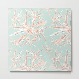 Hawaii style botanical leaves collection in pastel Metal Print