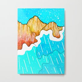 The cliff and the sea's waves Metal Print