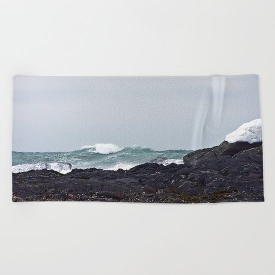 Late Winter Surf Beach Towel
