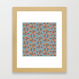 Light Blue Small Clams Illustration pattern Framed Art Print