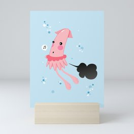 Aquatic Leaks. Squid Troubles Mini Art Print