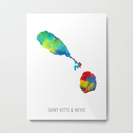 Saint Kitts & Nevis Watercolor Map Metal Print