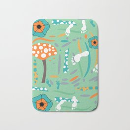 Playful mushroom and flowers Bath Mat