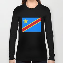 National flag of the Democratic Republic of the Congo, Authentic version (to scale and color) Long Sleeve T-shirt
