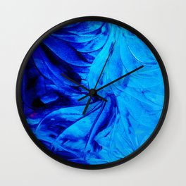PETAL PINWHEELS - Deep Indigo Blue Royal Blue Turquoise Floral Pattern Swirls Ocean Water Flowers Wall Clock