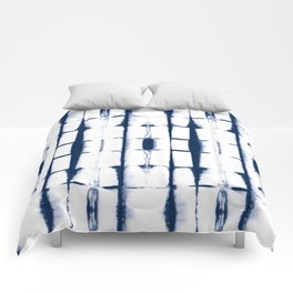 Shibori Stripes 4 Indigo Blue Comforters