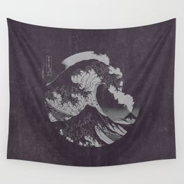The Great Wave off Kanagawa Black and White Wall Tapestry