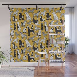 Geometric sweet wet noses // goldenrod yellow mustard background black and white dogs Wall Mural