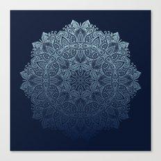 Mandala Deep Blue Bohemian Ombre Canvas Print