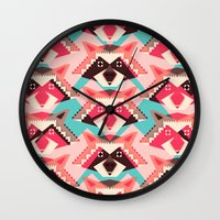 yetiland Wall Clocks featuring Raccoons and hearts by Yetiland
