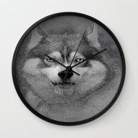 husky Wall Clocks featuring husky  by Doug McRae