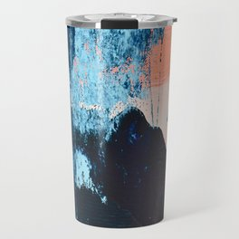 Delight: a vibrant abstract painting in blues and coral by Alyssa Hamilton Art Travel Mug