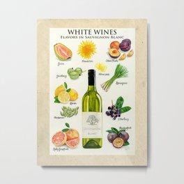 WHITE WINES - Flavors in Sauvignon Blanc Metal Print