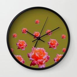 RAINING ANTIQUE PINK ROSE FLOWERS AVOCADO COLOR Wall Clock