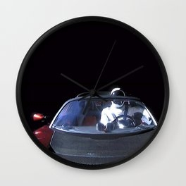 SpaceX Starman Leaving Earth Car in Space Tesla Roadster Floating Above Eart Wall Clock