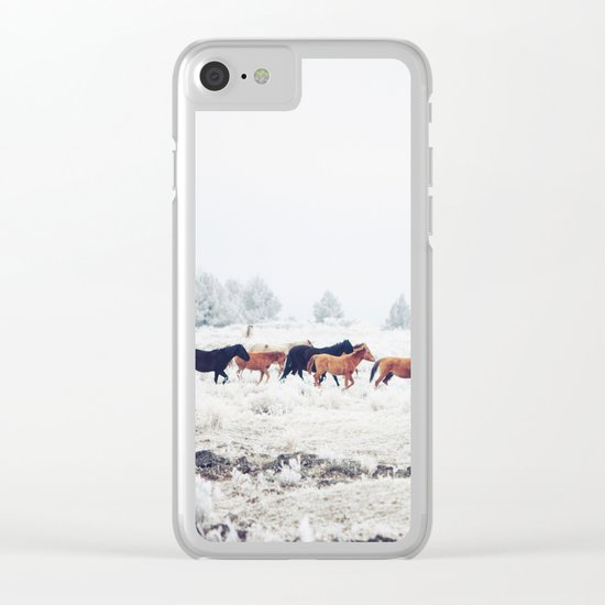 Winter Horse Herd Clear iPhone Case