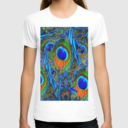 FEATHERY BLUE PEACOCK ABSTRACTED  FEATHERS ART PILLOWS T-shirt