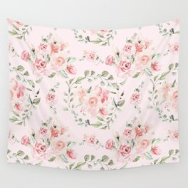 Rose Blush Watercolor Flower Pattern Wall Tapestry