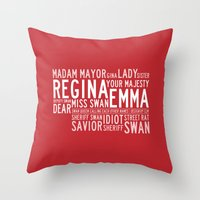 swan queen Throw Pillows featuring Swan Queen Nicknames - Red (OUAT) by CLM Design