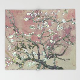 Almond Blossom - Vincent Van Gogh (pink pastel and cream) Throw Blanket
