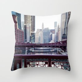 Chicago River Walk Throw Pillow