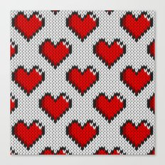 Knitted heart pattern - white Canvas Print
