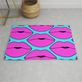 Hot Pink Close up Lips Rug