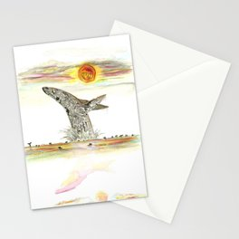 Sunset Whale Surf Lineup Stationery Cards