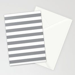 Horizontal Grey Stripes Stationery Cards