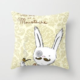 Moustache wins. Always. Throw Pillow