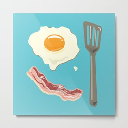 bacon & eggs, blue Metal Print