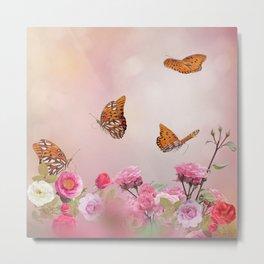 Gulf Fritillary butterflies feed in a rose garden Metal Print
