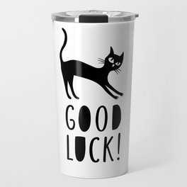 Black cat wishes good luck Travel Mug