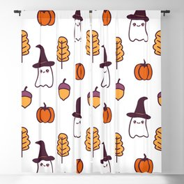 cute cartoon halloween pattern background with ghosts, pumpkins, leaves and acorns Blackout Curtain