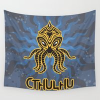 cthulhu Wall Tapestries featuring Cthulhu return by Enrique Valles