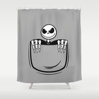 jack skellington Shower Curtains featuring Jack Skellington pocket by Buby87