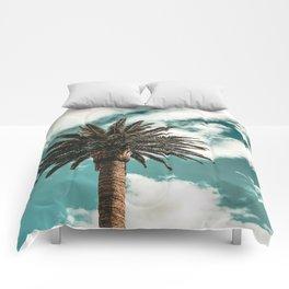 Lush Palm {1 of 2} / Teal Blue Sky Tree Leaves Art Print Comforters