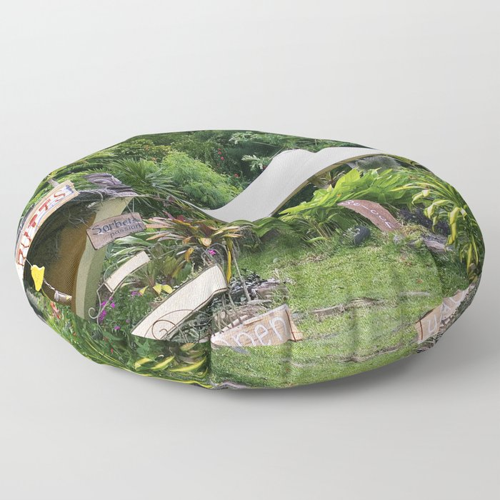 Fruit Stand in Tropical French Polynesia Floor Pillow